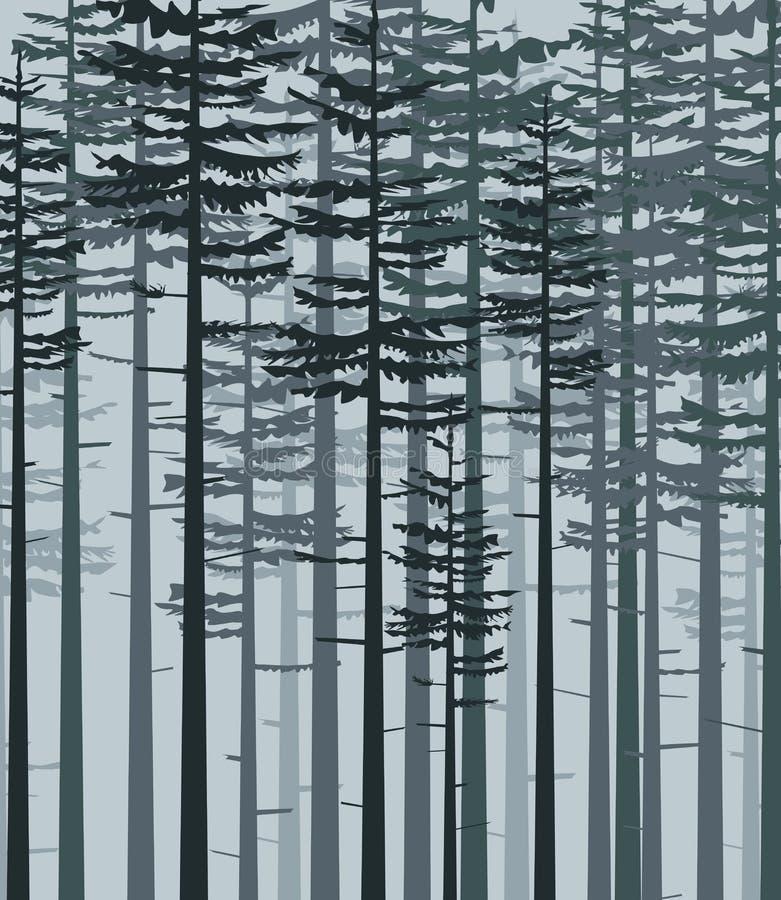 Krajobraz z lasem ilustracja wektor