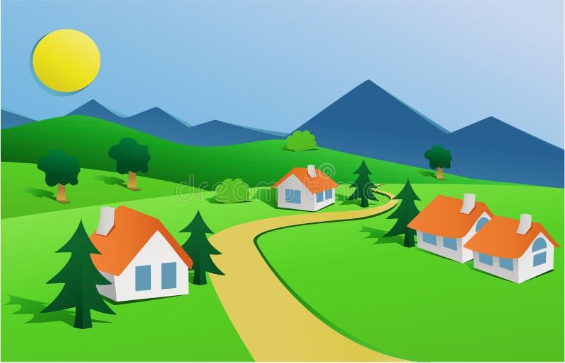 Krajobraz z małą wioską ilustracji