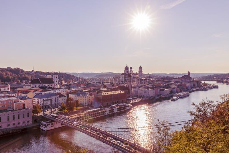 Krajobraz z miastem Passau, Niemcy obraz stock
