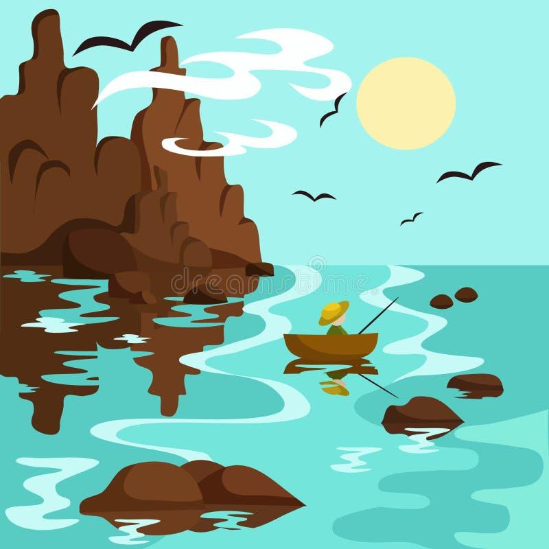 Krajobraz z morzem, górami i rybakiem w łodzi, ilustracja wektor