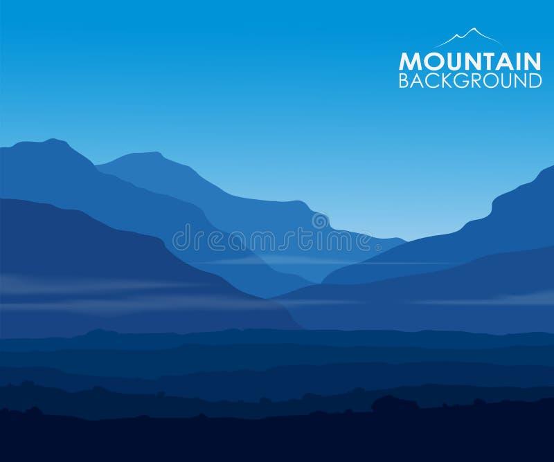 Krajobraz z ogromnymi błękitnymi górami ilustracja wektor