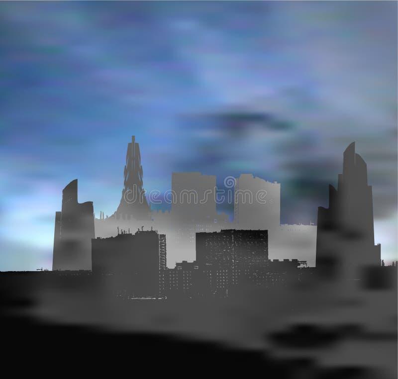 Krajobraz z panoramicznym miastem atakującym z smogiem royalty ilustracja
