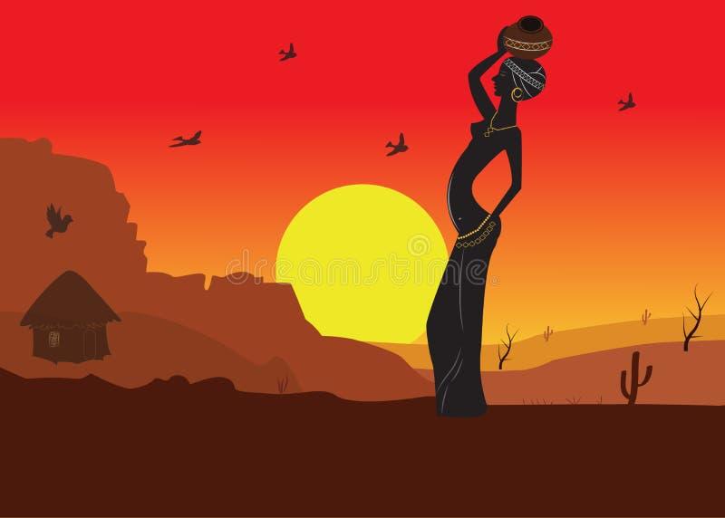 Krajobraz Z Piękną kobiety sylwetką, royalty ilustracja