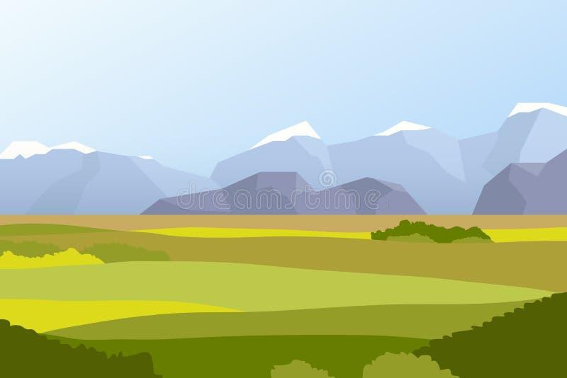 Krajobraz z polami i górami royalty ilustracja