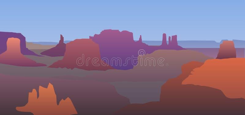 Krajobraz z pomarańczowymi sylwetkami góry royalty ilustracja