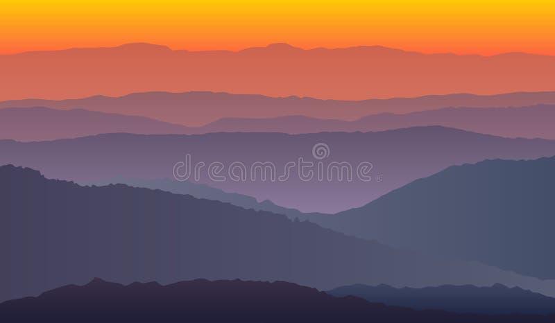 Krajobraz z purpurowymi pomarańczowymi sylwetkami góry ilustracji
