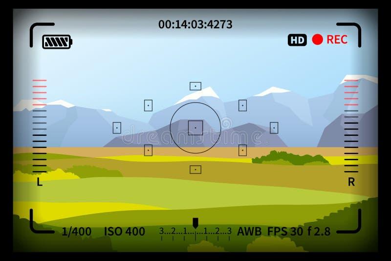 Krajobraz z refleksowymi fotografii kamery viewfinder ocenami ilustracji