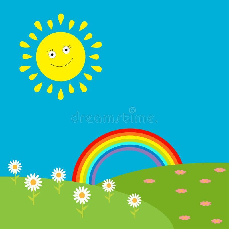 Krajobraz z słońcem, tęczą i kwiatami. ilustracja wektor
