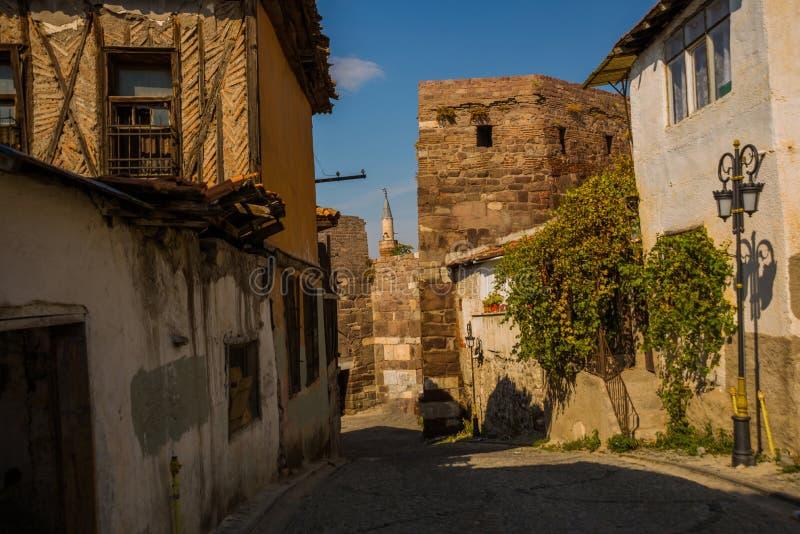 Krajobraz z starymi turecczyzna domami w terenie blisko fortecy Ankara kasztel Ankara, Turcja fotografia stock