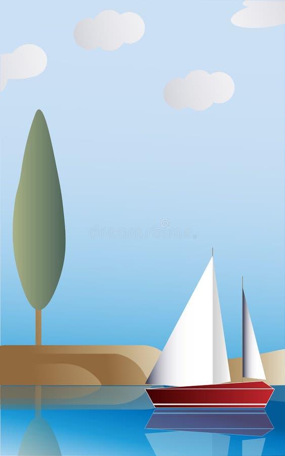 Krajobraz z statkiem ilustracji