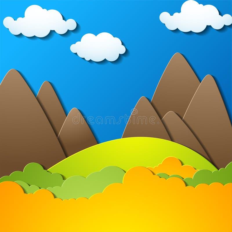 Krajobraz z sylwetkami góry, halny tło, kolorowa ilustracja ilustracja wektor