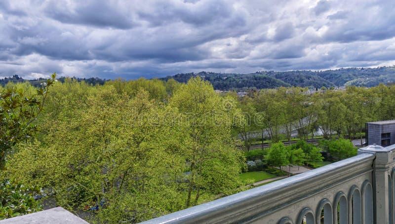 Krajobraz z ulistnieniem i groźnymi niebami obrazy royalty free