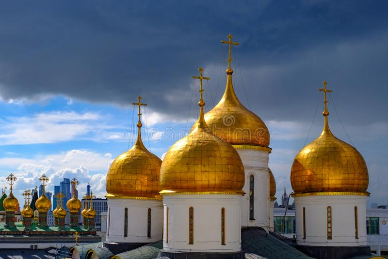Krajobraz z widokiem na kopułach katedry Moskwa Kremlin fotografia royalty free