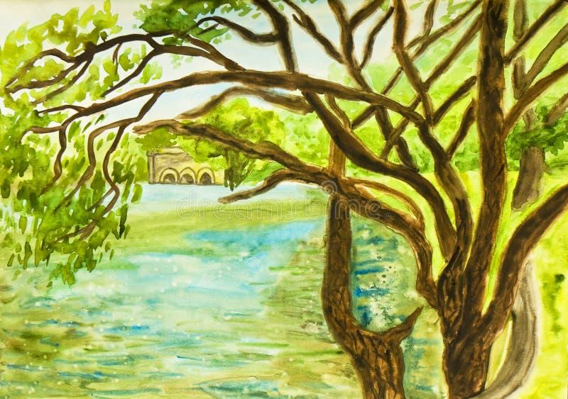 Krajobraz z wierzbami i jeziorem royalty ilustracja