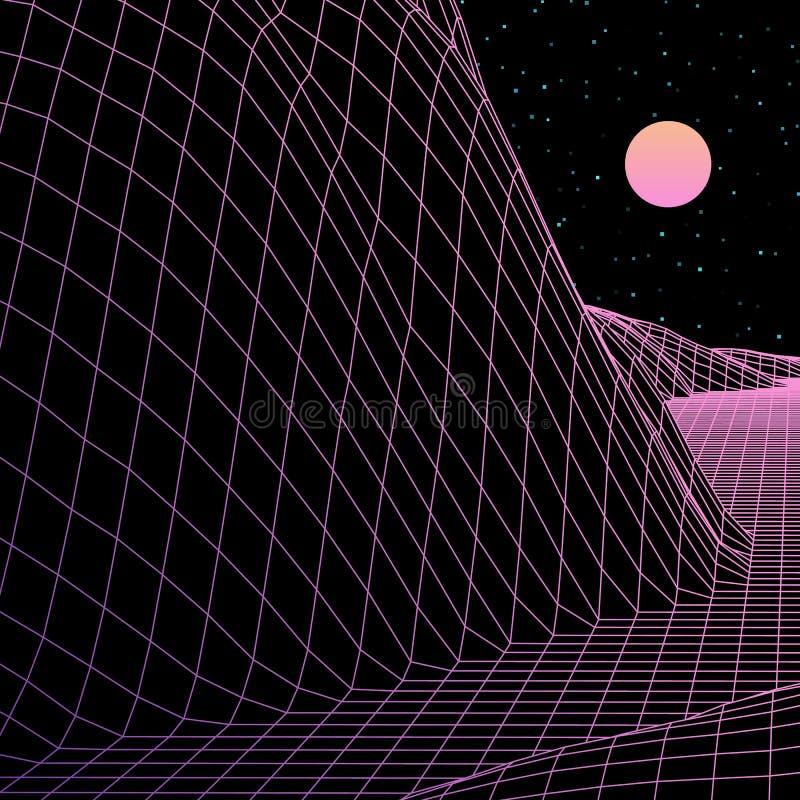 Krajobraz z wireframe siatką 80s projektował retro grę komputerową lub nauki tła 3d strukturę ilustracja wektor