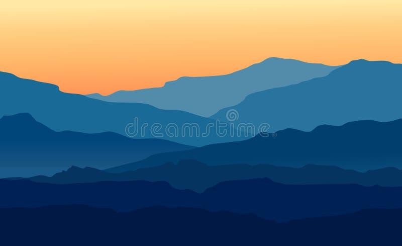 Krajobraz z zmierzchem w błękitnych górach ilustracja wektor