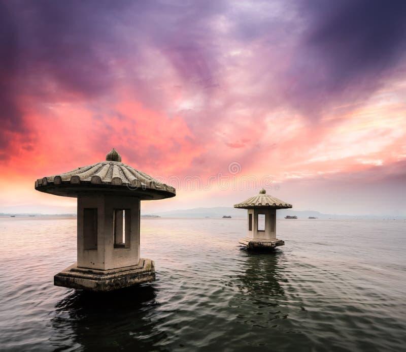 Krajobraz z zmierzchem w Hangzhou obrazy royalty free