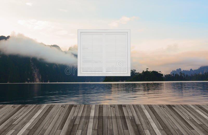 Krajobraz za okno, 3D royalty ilustracja