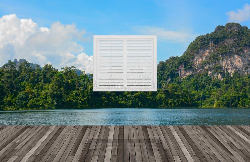 Krajobraz za okno, 3D ilustracji