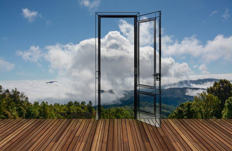 Krajobraz za otwarcia drzwi obraz stock