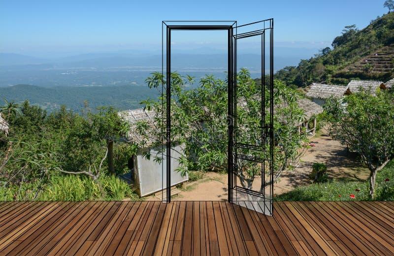 Krajobraz za otwarcia drzwi zdjęcia stock
