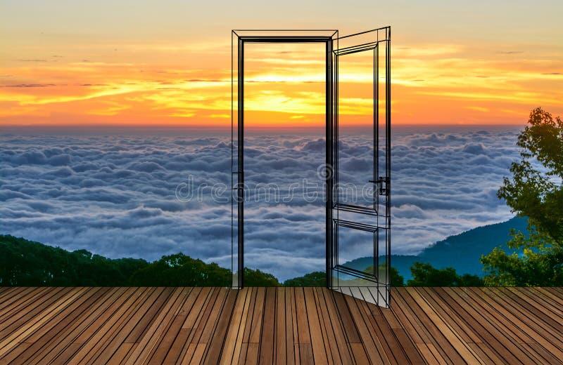 Krajobraz za otwarcia drzwi obraz royalty free