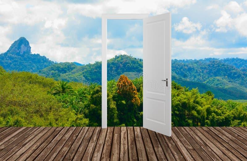 Krajobraz za otwarcia drzwi, 3D ilustracji