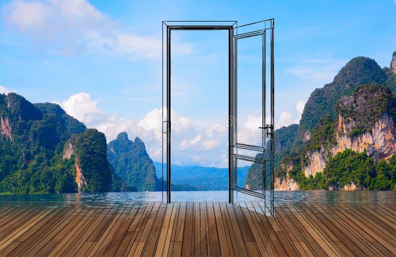 Krajobraz za otwarcia drzwi, 3D fotografia stock