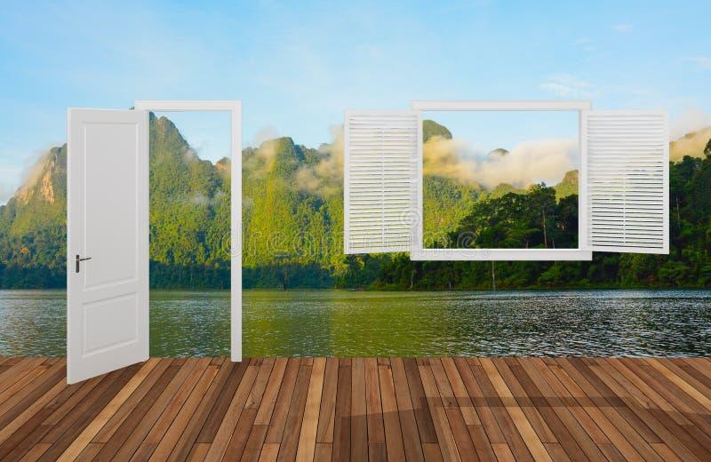 Krajobraz za otwarcia drzwi okno i, 3D ilustracja wektor