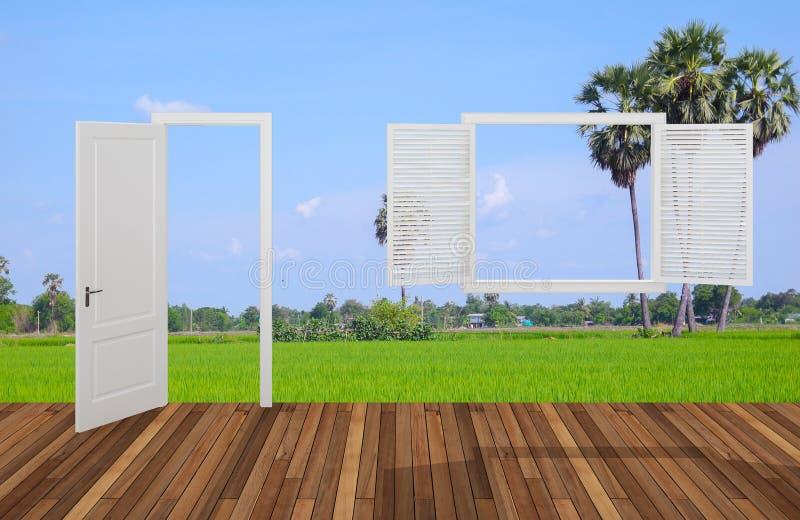 Krajobraz za otwarcia drzwi okno i, 3D ilustracji