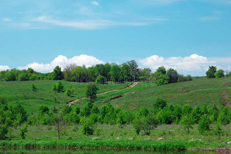 Krajobraz zieleni trawiaści wzgórza, dolina, drzewa i niebieskie niebo, obraz stock