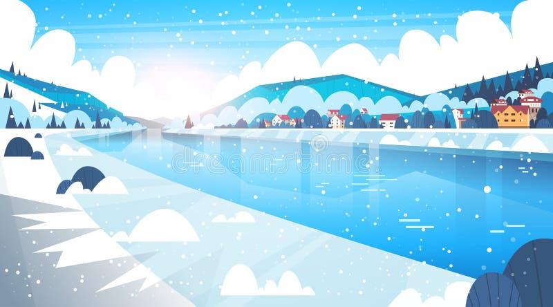 Krajobraz zimy wioska Mieści Blisko Halnych wzgórzy, Zamarzniętej rzeka I jezioro ilustracji