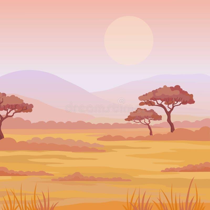Krajobrazowa Afrykańska sawanna Zmierzch Miejsce dla teksta ilustracji