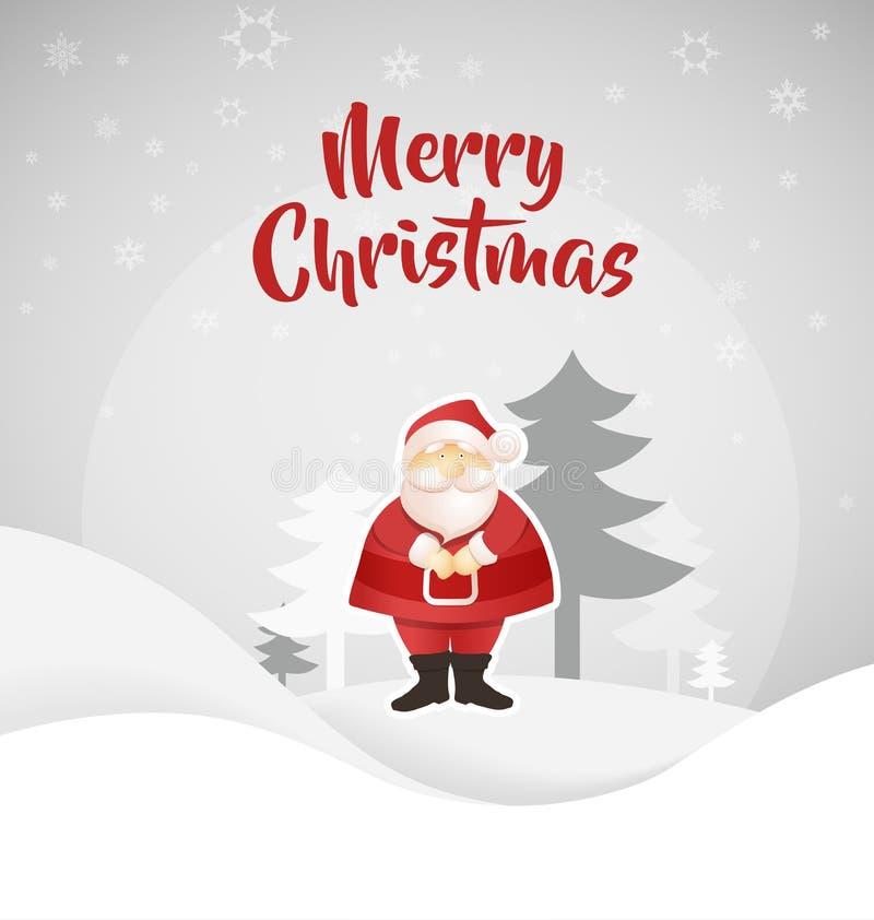 Krajobrazowa Bożenarodzeniowa wektorowa tło ilustracja z stać Święty Mikołaj przód sosny i snowing niebo za on ilustracja wektor