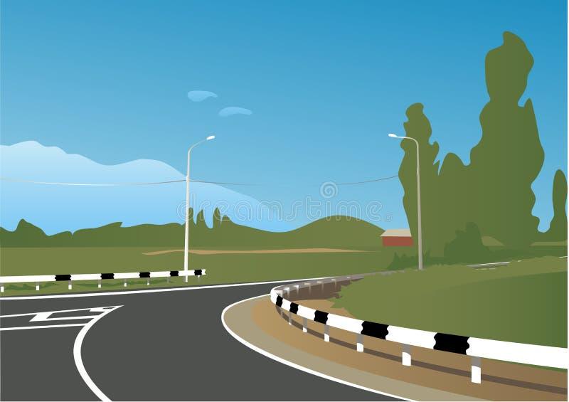 krajobrazowa droga ilustracji