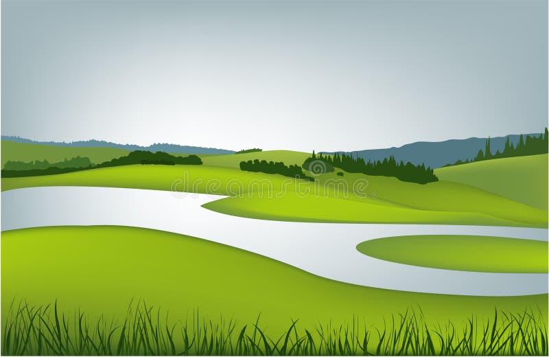 krajobrazowa halna wiosna ilustracji