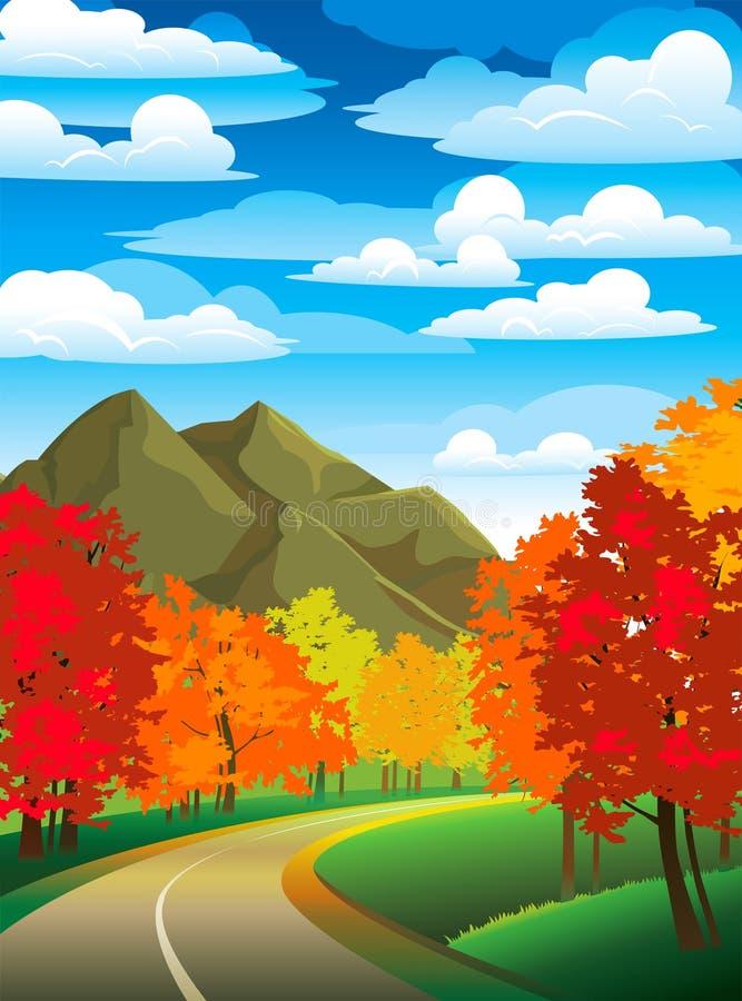krajobrazowa jesień droga ilustracji