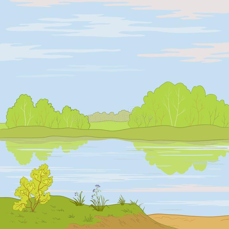 krajobrazowa las rzeka royalty ilustracja