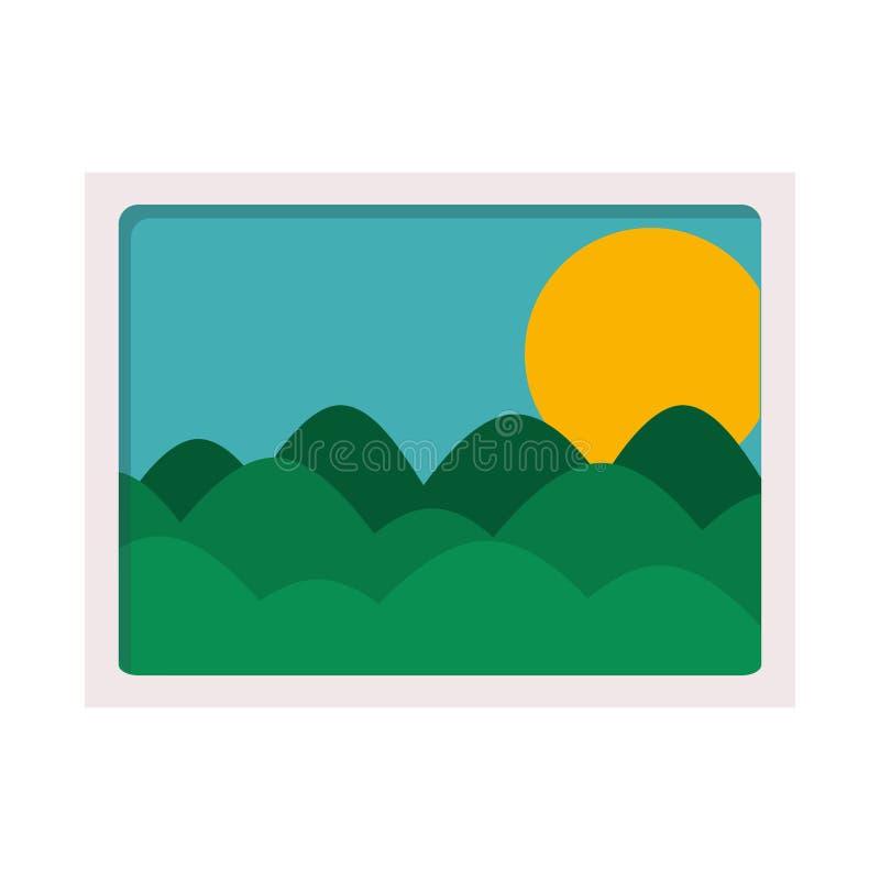 Krajobrazowa obrazek ikona ilustracja wektor