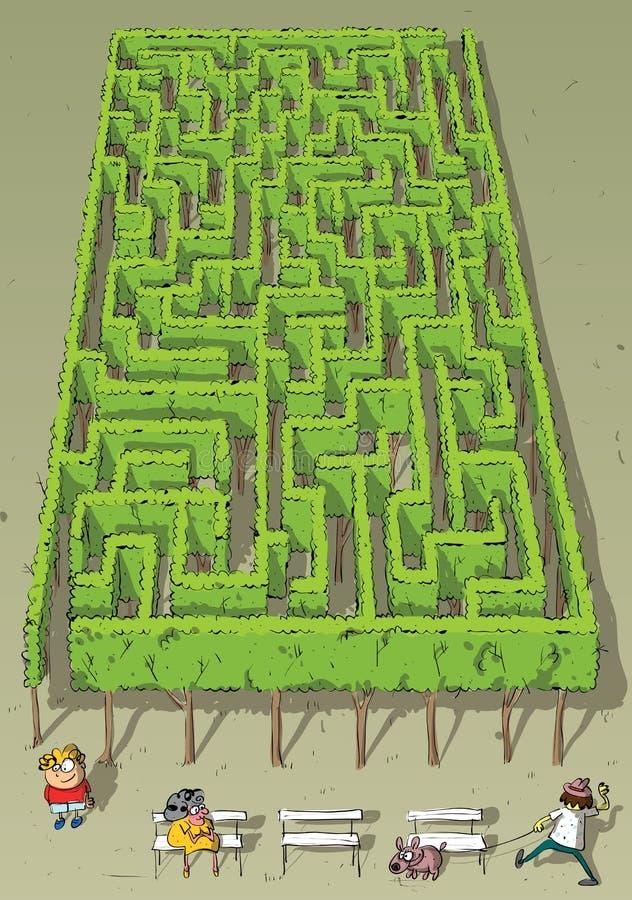 Krajobrazowa Parkowa drzewo labiryntu gra ilustracji