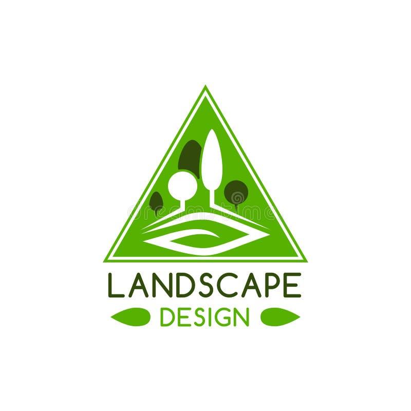Krajobrazowa projekt odznaka z zielonym drzewem i liściem ilustracji
