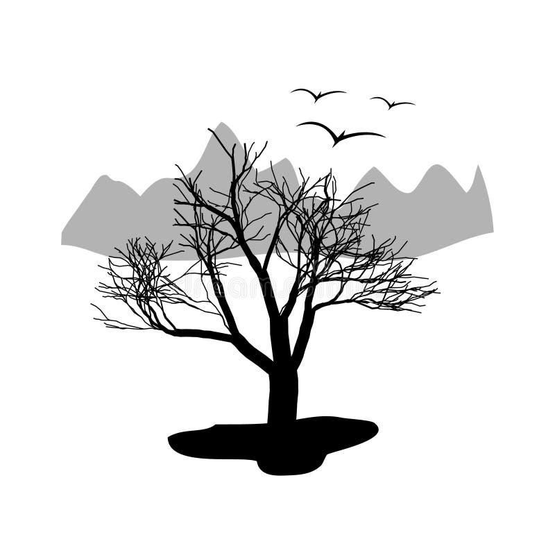 Krajobrazowa pustynia Suchy drzewo z górami w royalty ilustracja