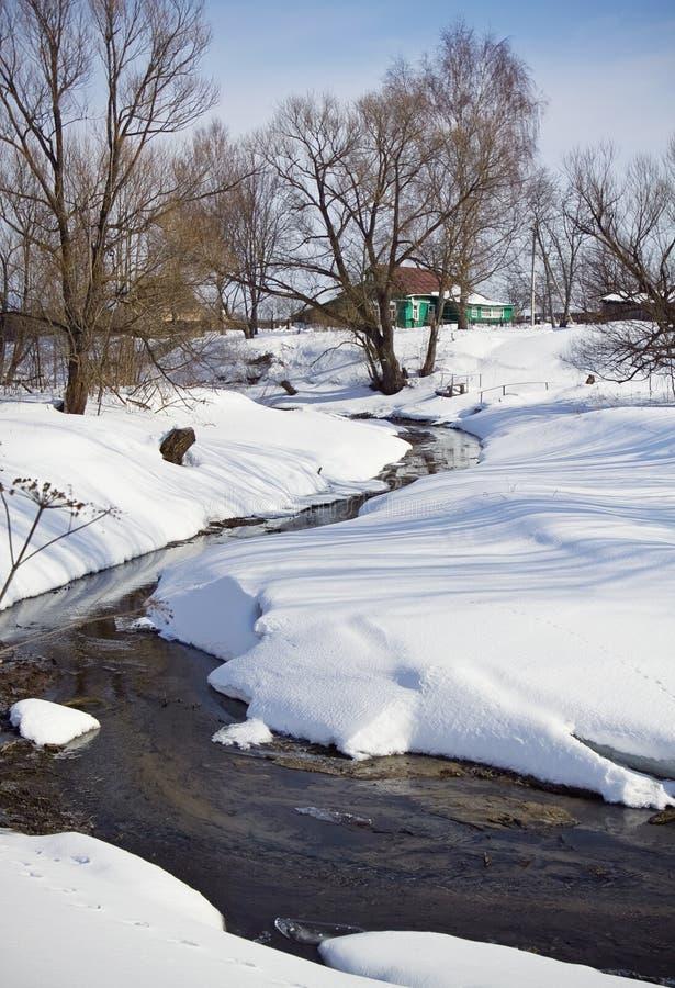 krajobrazowa rzeczna wiejska mała zima zdjęcie stock