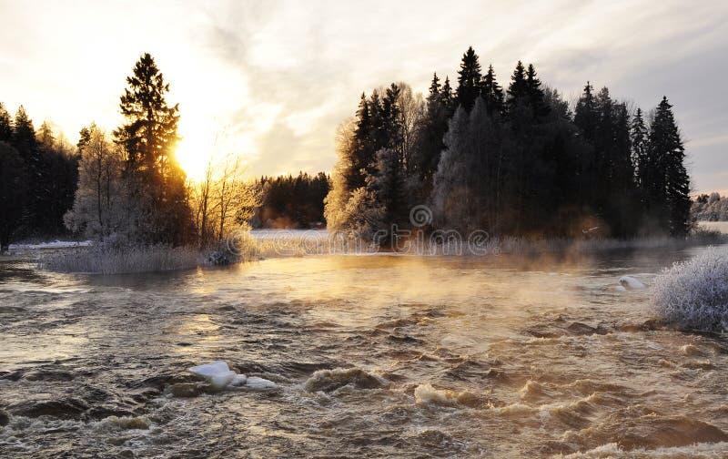 krajobrazowa rzeczna zima zdjęcia stock