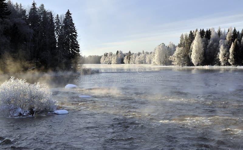 krajobrazowa rzeczna zima obrazy royalty free