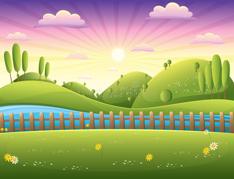 Krajobrazowa wektorowa ilustracja ilustracji