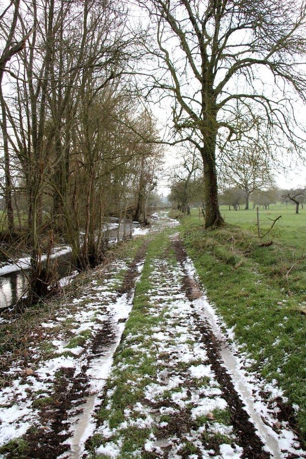 krajobrazowa wiejska zima zdjęcia royalty free