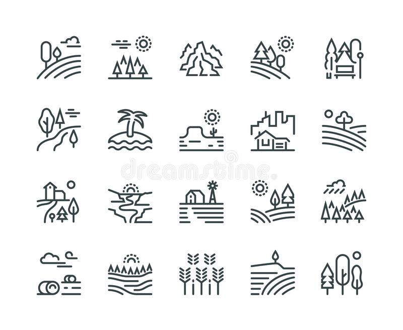 Krajobrazowe kreskowe ikony Natura parka halnego wzgórza lasowi drzewa i wieś uprawiają ogródek, przemysłowy megapolis pejzaż mie royalty ilustracja