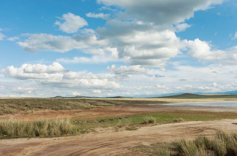 Krajobrazowe piękne chmury Tyva step słoneczny dzień zdjęcie stock