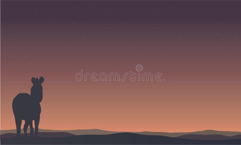 Krajobrazowe zebr sylwetki w wzgórzach ilustracja wektor